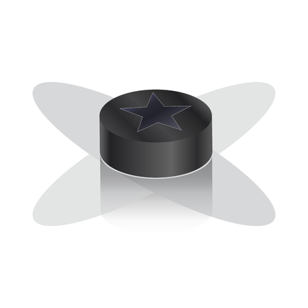 puck: Hockey puck with shadow on white background. Illustration