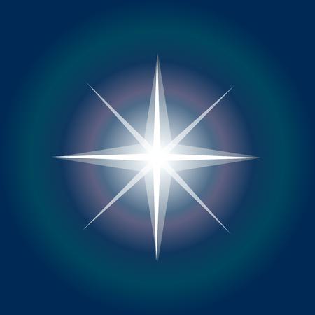Star on dark background.