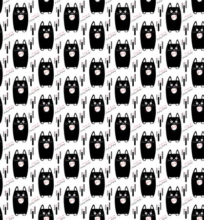 Cat print seamless pattern, Black little kittens pattern. Cute cats animal pattern. Black cats isolated on white background. Pillow cases design.