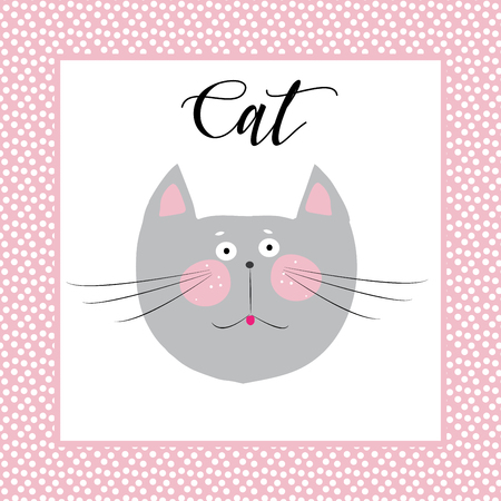 A cat cute picture. A cat portrait isolated on white background in pink frame. Cat calligraphy inscription. Cute kitten head in frame. Cat vector illustration. Cats picture for kids room decoration. 일러스트