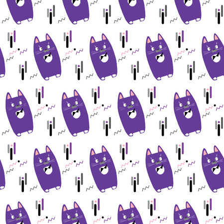 Cat. Cats animal pattern. Cute cat print. Cute little kittens isolated on white background, seamless pattern. Vector illustration. Cats pattern for scrapbook, paper, fabric, textile, fashion, art, web, baby room decoration design.