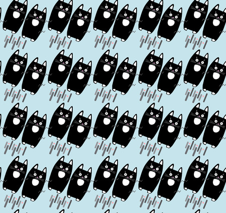 Cat. Cats animal pattern. Cute cat print. Cute little kittens isolated on white background, seamless pattern. Vector illustration. Black Cats magic pattern for scrapbook, paper, fabric, textile, fashion, art, web, baby room decoration design.