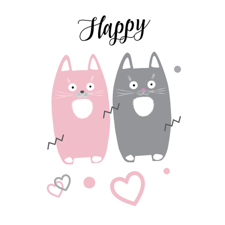 Cute cats. Happy kittens vector illustration. Cats kittens romantic card. Cute little kittens, hearts, dots on white background. For Kids cloth design. Cats drawing illustration.