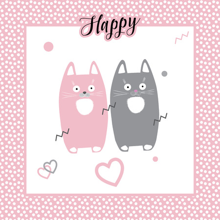 Cats. Cute cats. Happy kittens vector illustration. Cats kittens romantic card. Cute little kittens, hearts, dots on white background in pink frame. For Kids cloth design. Happy Cats drawing illustration.