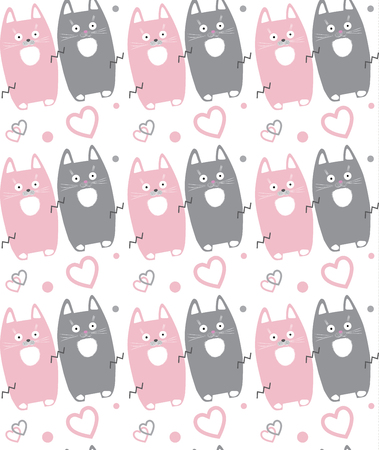 Cute little cats pattern. Cats isolated on white background, seamless pattern. Vector illustration. Cats pattern for Home design. 일러스트