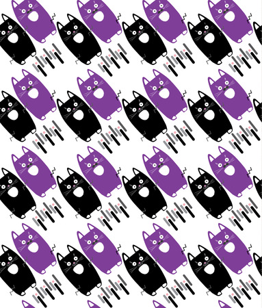 Cats animal pattern. Cute little kittens isolated on white background, seamless pattern. Vector illustration. Cats pattern for fashion, textile. home decoration, pillow cases print.