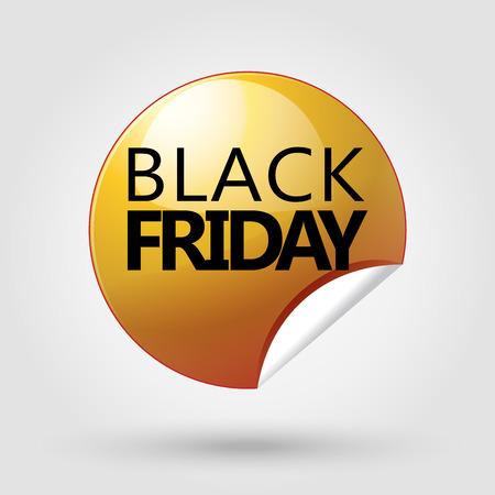 Black Friday gold sticker. Black Friday Sale gold tag poster. Vector illustration. Illustration