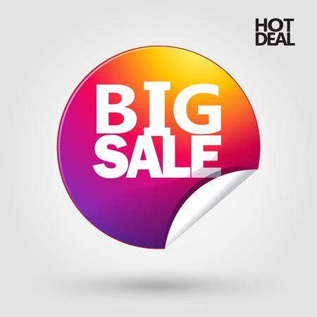 Sale sticker. Big Sale inscription sticker design, template. Sale banner. Hot Deal icon. Autumn Sale. Spring Sale, Christmas Sale. Hot Sale poster.
