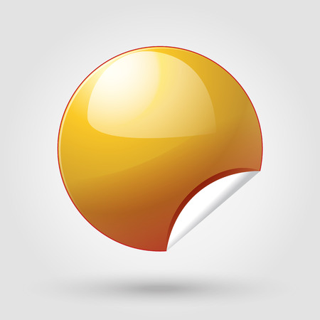 Gold Sticker label. Round gold tag. Gold button vector. Sticker banner illustration. Sticker icon. Advertising. Illustration