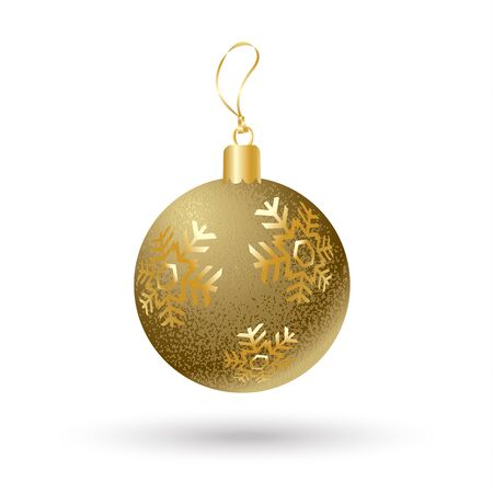 Christmas ball. Glitter Christmas gold ball with snowflakes isolated on white background. Vector card for Merry Christmas and New Year Holiday. Gold Ball sign. Ball Christmas. New Year symbol 2017