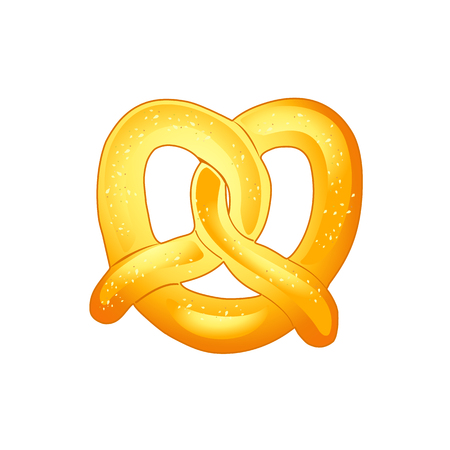 beerhouse: Pretzel - a crisp biscuit baked in the form of a knot flavored with salt. Pretzel isolated on white background. For Oktoberfest - greeting card. Vector October festival symbol illustration. Germanys Oktoberfest worlds biggest wine festival. Autumn festi