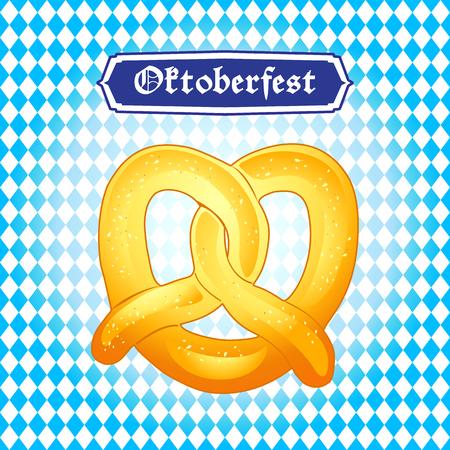 beer stein: OKTOBERFEST Pretzels Holiday poster vector. Pretzel on Oktoberfest Bavarian flag background. Beer Festival banner.