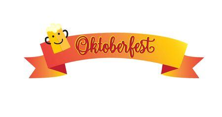 Oktoberfest lettering Munich - Holiday greeting card. Beer mag with ribbon Vector Illustration. Beer, Oktoberfest pattern, Bavarian, Germany, beer stein, Oktoberfest beer, Munich, Lederhosen, German beer, Oktoberfest food. Illustration