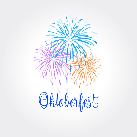 Oktoberfest Fireworks Holiday Festival greeting card. Oktoberfest lettering. Traditional Beer festival in Munich Germany and Oktoberfest USA. Illustration