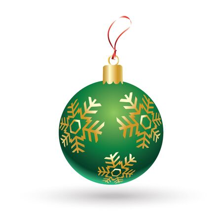 newyear: Christmas ball. Christmas green ball with gold snowflakes isolated on white background. Vector icon for Merry Christmas and Happy New Year greeting cards design. Winter Holiday decoration. Illustration