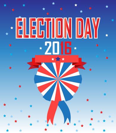American Presidential Election background. Election Day 2016 inscription Poster or brochure template. Election banner. Festive Vector illustration. Illustration