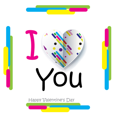 Happy Valentines Day greeting card. Vector illustration. I love You text with two hearts Cut paper on abstract striped background. Modern concept.