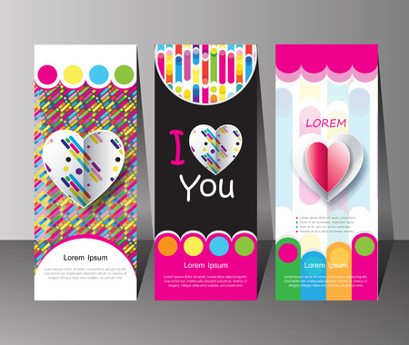 ecard: Set of banners for Happy Valentines Day Holiday. Vector illustration. Romantic posters with hearts abstract background. Love, poster, banner, e-card collection. For Advertising, Promotion, Marketing, gift cards design.