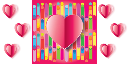 Happy Valentines Day greeting card background. Vector illustration. Romantic poster with hearts on abstract colorful background. Love, wallpaper, banner, e-card. Advertising, design abstract poster. Cut paper heart.