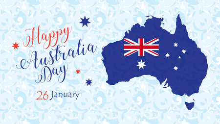 Happy Australia Day 26th January inscription poster with Australia map, Australian flag, calligraphy, text, stars and fireworks. Holiday vector illustration. Festive blue abstract background. For Advertising, Traveling, Promotion, Celebration, Congratulat Illustration
