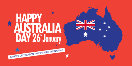 Happy Australia Day 26th January inscription poster with Australia map, Australian flag, stars. Holiday vector illustration. Festive red banner background. For Advertising, Traveling, Promotion, Celebration, Congratulate, Kids Event. Illustration