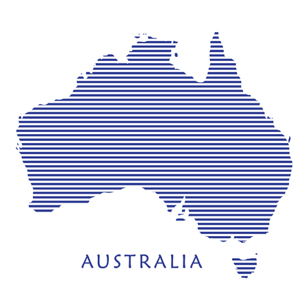 stripped: Map Australia. Blue stripped map of Australia isolated on white background. Blue stripes texture, pattern. Australia Day vector illustration. Festive background. For Advertising, Traveling, Promotion, Celebration, Congratulate, Kids Event.