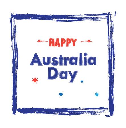 Happy Australia Day lettering in blue hand drawn frame on white background. Splash brash texture. Australia Day vector illustration. Festive background. For Advertising, Traveling, Promotion, Celebration, Congratulate, Kids Event.