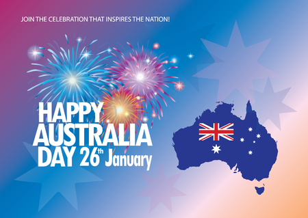 Happy Australia Day 26th January inscription poster with Australia map, Australian flag isolated, stars and fireworks. Holiday vector illustration. Festive background. For Advertising, Traveling, Promotion, Celebration, Congratulate, Kids Event.