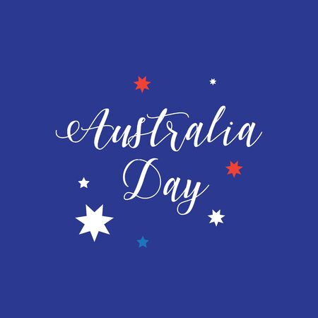 Australia day 26 january poster with hand drawn lettering stars australia day 26 january lettering poster with calligraphy on australian flag color background heart m4hsunfo