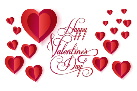 happy valentines day lettering greeting card vector template