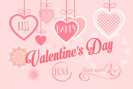 Happy Valentines Day lettering greeting card. Vector hand drawn template. Romantic poster with pink hearts, festive background. Romance Love poster, banner, e-card, flyer, Typography postcard envelope, album. Advertising, design, Calligraphy hand made pos Stock Illustratie