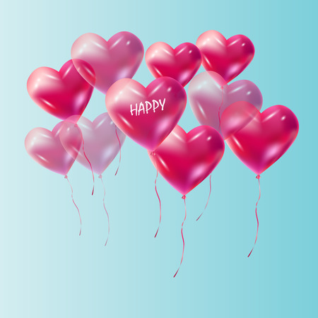 Heart balloons flying vector decoration.