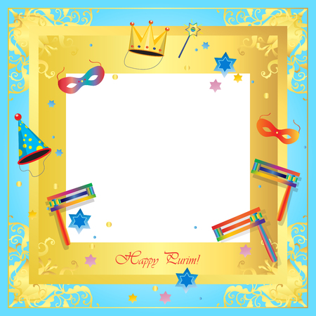 Happy Purim festival greeting card frame. Purim Jewish Holiday decorative poster with masquerade symbols, toy grogger noisemaker, carnival mask, crown, festive confetti background.