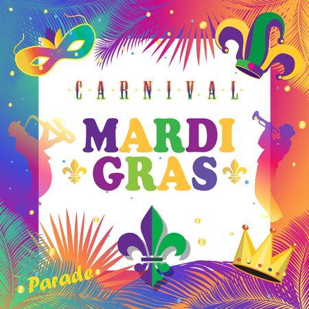Mardi Gras Carnival, Music Festival, Masquerade poster, invitation design. Funfair, parade funny tickets, banners design with confetti, musicians, carnival mask, crown, fleur de lis symbols