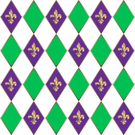 fleurdelis: Mardi Gras Carnival pattern with fleur-de-lis emblem symbol. Illustration