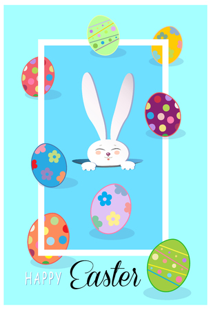 Happy Easter Holiday greeting card. Easter Rabbit and Easter eggs, frame. Cute Easter Bunny.  Futuristic. Flat design. Vector Illustration