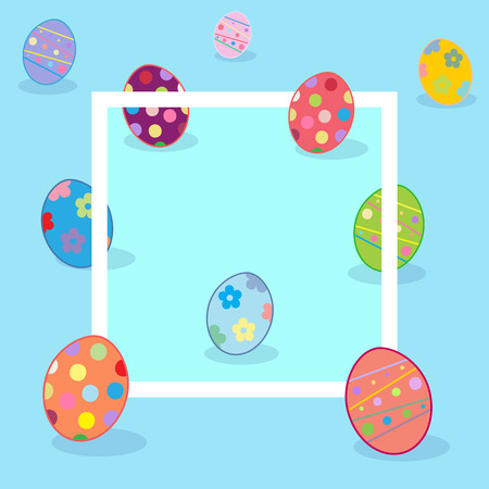 Easter Holiday frame design. Easter eggs, frame. Greeting card blue background, pattern, decoration. Futuristic style. Vector Illustration
