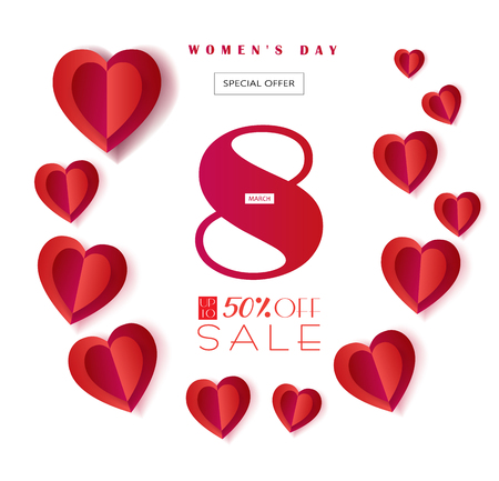 Sale Discount banner for Happy Womens Day, Eighth March. Spring Holiday Sale, gift card, coupon. Futuristic, modern design. Marketing. Advertising. Vector illustration