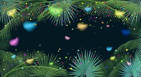 Tropical palm tree leaves, confetti, festive poster. Carnival background with colorful confetti, blurred hearts, bright sparkles, palm tree leaves frame. Vector illustration. Exotic palm tree leaves frame. Holiday decoration.