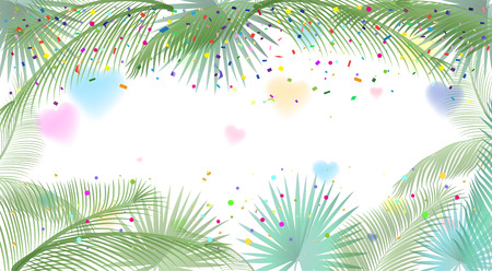 Carnival frame. Palm tree leaves frame and confetti, hearts, white background. Vector tropical frame. Carnival festive decoration. Ilustrace