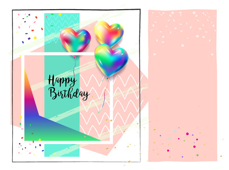 Happy Birthday Greeting Card Balloons Heart Confetti Triangles