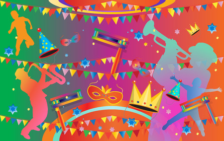 Purim funny poster. Happy Purim Jewish Holiday poster with traditional cookies, toy grogger noisemaker, carnival background with musicians, kids, mask, crown,  stars of David, garland, firework, confetti. Festive Vector illustration. Holiday decoration
