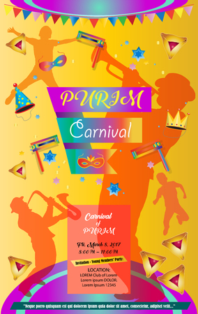 Purim poster. Happy Purim Jewish Holiday poster with stars of David, traditional hamantaschen cookies, toy grogger noisemaker, carnival background with musicians, kids, mask, crown, garland, firework, confetti. Festive Vector illustration. Holiday decorat