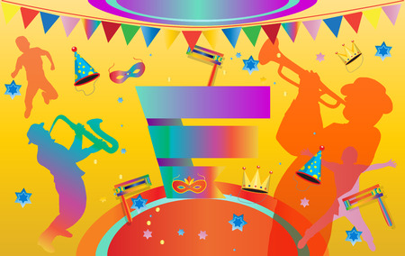 Purim Music Festival poster. Purim Jewish Holiday banner, flyer, template. Vector illustration with traditional carnival symbols. Illustration