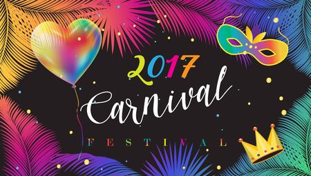 2017 Festival, Carnival Abstract with colorful balloon, Venetian mask, confetti, bright sparkles, palm leaves frame. Vector Rio Brazilian carnival. Tropical, exotic palm tree leaves Night Party invitation Stock Illustratie