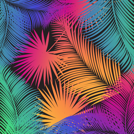 Tropical Colorful palm tree. Tropical embroidery floral design