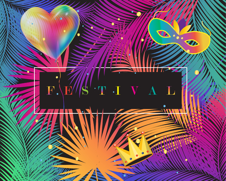 Festival, Carnival, Masquerade Abstract background with colorful balloon
