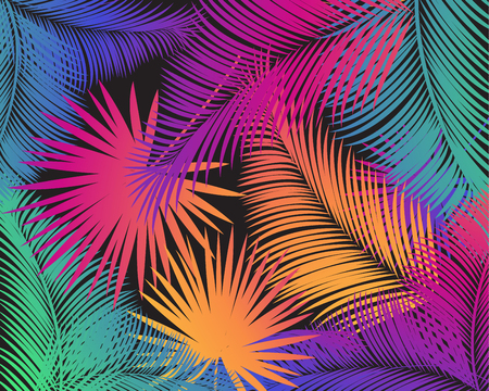 Colorful palm tree leaves pattern. Carnival, Holiday Festive poster. Tropical background. Vector