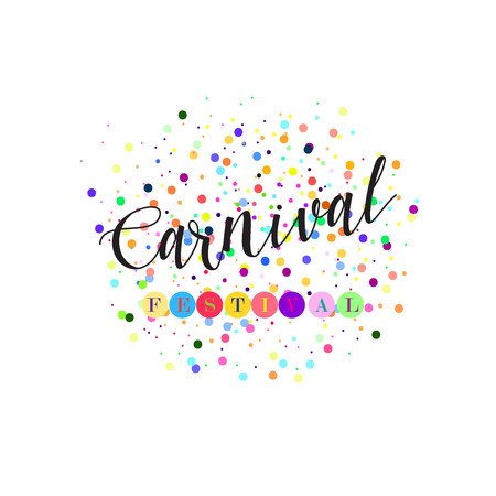 anniversary sale: Carnival lettering with confetti vector poster, flyer, placard, banner. Festive design. Holiday advertising, festival