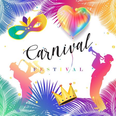 Cartel festivo del día de fiesta judío de Purim. Vector de Carnaval. Símbolos de Carnaval Decoración de vacaciones, banner, flyer, plantilla. Foto de archivo - 73308353